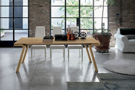 Maciste 180 cm Extendable Dining Table Natural Veneered Legs And Wooden Top