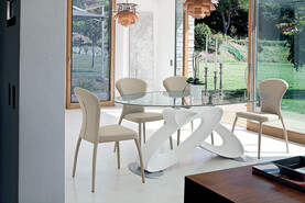 Eclipse Non Extendable Dining Table White Polyurethane Base With Glass Top