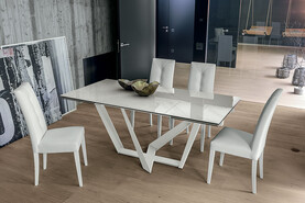 Priamo 180 cm Extendable Dining Table Carrara Marble-Effect Stoneware Top