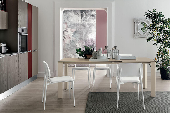 SATURNO 130 cm Extendable Table With Corda Painted Aluminum Structure Corda Stoneware Top