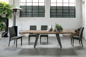 SCIROCCO 180 cm Extendable Table With Graphite Painted Metal Structure Synchro-Texture Laminate Top
