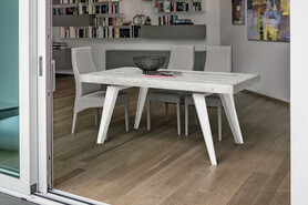 SCIROCCO 180 cm Extendable Table With White Painted Metal Structure Synchro-Texture Laminate Top