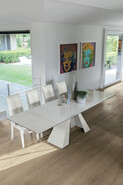 Taurus 180 cm Extendable Dining Table Carrara Marble-Effect Stoneware Top