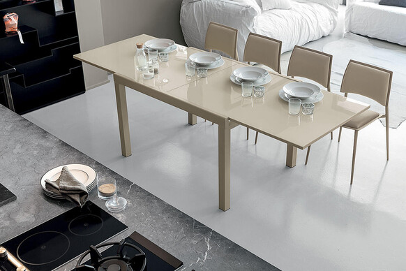 VEGA 120 cm Extendable Table With Corda Painted Metal Frame Corda Tempered Glass Top