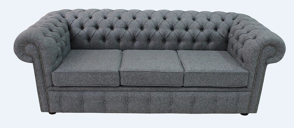 Chesterfield Arnold Wool 3 Seater Sofa Settee Stoneham Dark Grey