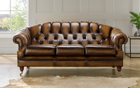 Chesterfield Victoria Leather Sofa Antique Tan