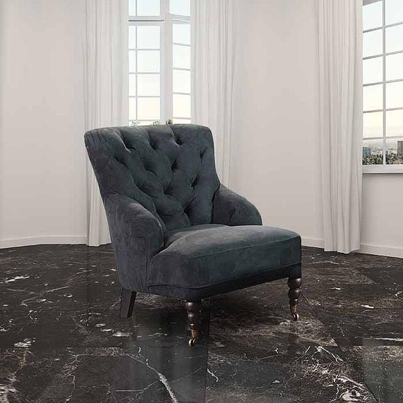 Chesterfield Black Buttoned Armchair
