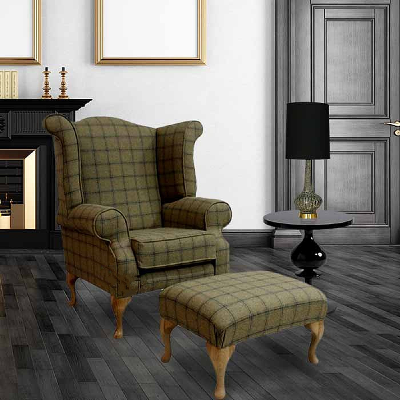 High Quality Chesterfield Edward Queen Anne Wool Tweed Althrop Topaz Wing Chair Fireside  High Back Armchair + Footstool