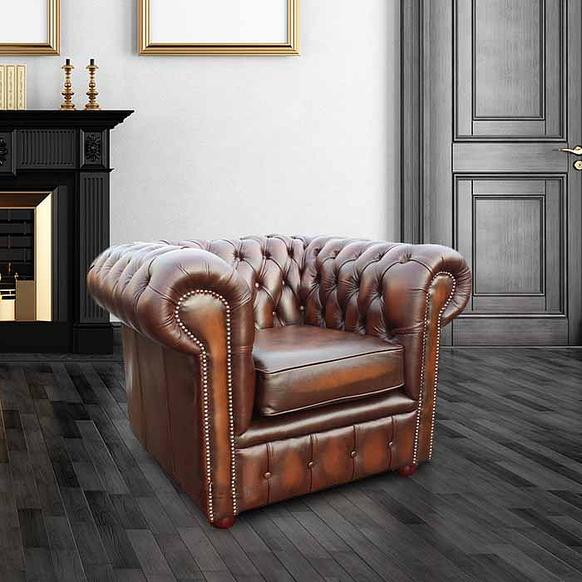 Chesterfield London Low Back Club ArmChair Antique Tan Leather