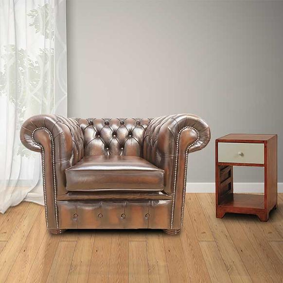 chesterfield low back club armchair antique brown leather. Black Bedroom Furniture Sets. Home Design Ideas