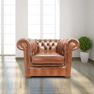 Chesterfield Heaton Low Back Club ArmChair Antique Tan Leather