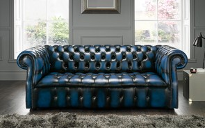 Chesterfield Darcy Leather Sofa 3 Seater Antique Blue