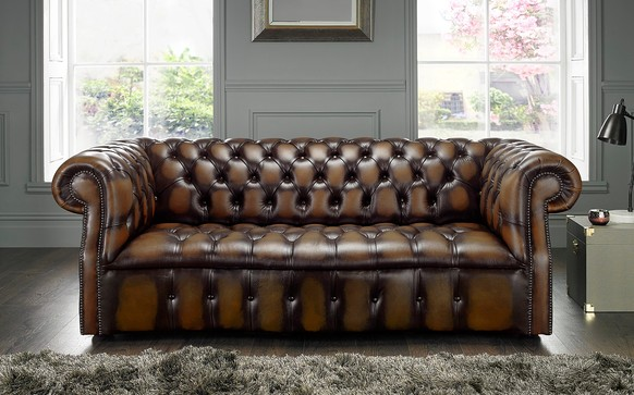 Chesterfield Darcy Leather Sofa 3 Seater Antique Brown