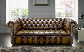 Chesterfield Darcy Leather Sofa 3 Seater Antique Gold