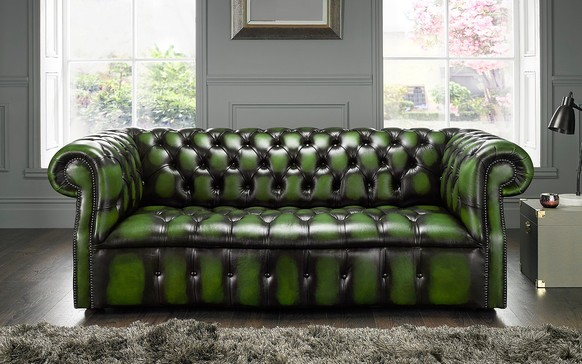 Chesterfield Darcy Leather Sofa 3 Seater Antique Green