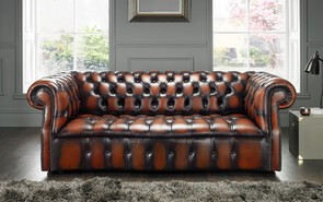 Chesterfield Darcy Leather Sofa 3 Seater Antique Light Rust