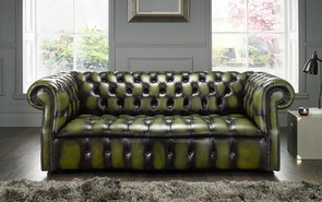 Chesterfield Darcy Leather Sofa 3 Seater Antique Olive