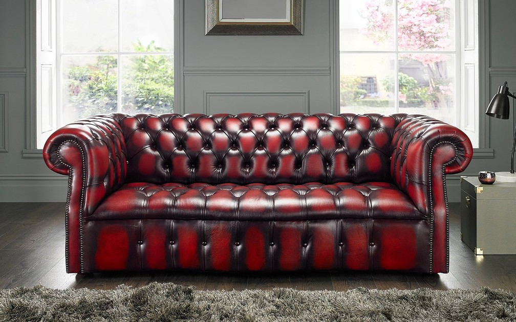 Chesterfield Darcy Leather Sofa 3 Seater Antique Oxblood