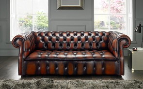 Chesterfield Darcy Leather Sofa 3 Seater Antique Rust