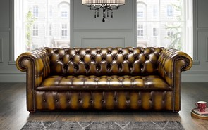 Chesterfield Edwardian Leather Sofa 3 Seater Antique Gold