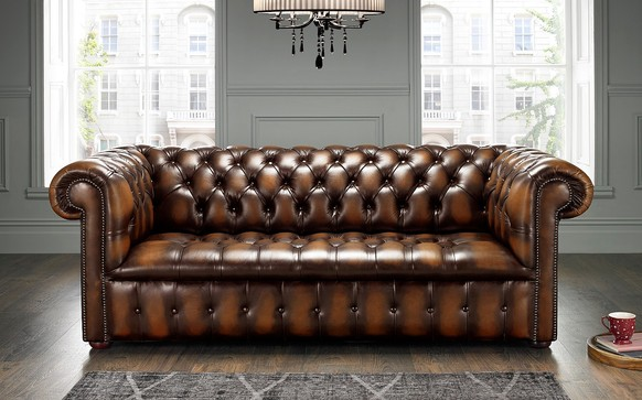 Chesterfield Edwardian Leather Sofa 3 Seater Antique Autumn Tan