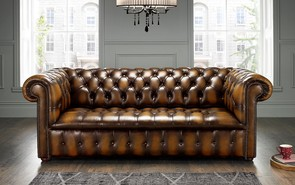 Chesterfield Edwardian Leather Sofa 3 Seater Antique Tan