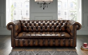 Chesterfield Edwardian Leather Sofa 3 Seater Antique Brown