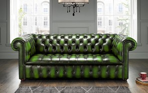 Chesterfield Edwardian Leather Sofa 3 Seater Antique Green