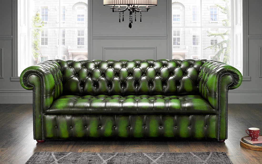 Green Chesterfield Sofa Buttoned