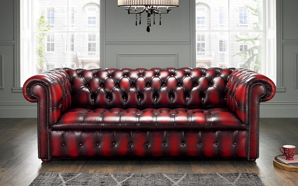 Chesterfield Edwardian Leather Sofa 3 Seater Antique Oxblood