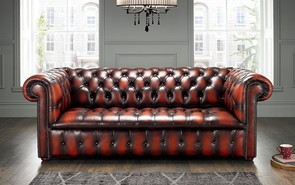 Chesterfield Edwardian Leather Sofa 3 Seater Antique Light Rust