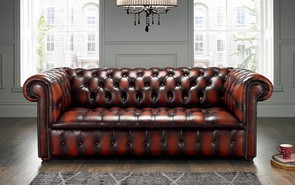 Chesterfield Edwardian Leather Sofa 3 Seater Antique Rust