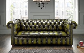 Chesterfield Edwardian Leather Sofa 3 Seater Antique Olive