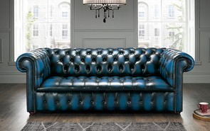 Chesterfield Edwardian Leather Sofa 3 Seater Antique Blue