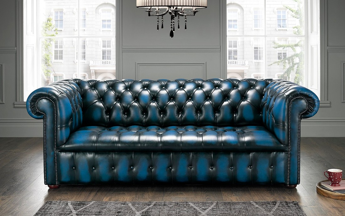 Blue Chesterfield Sofa Buttoned