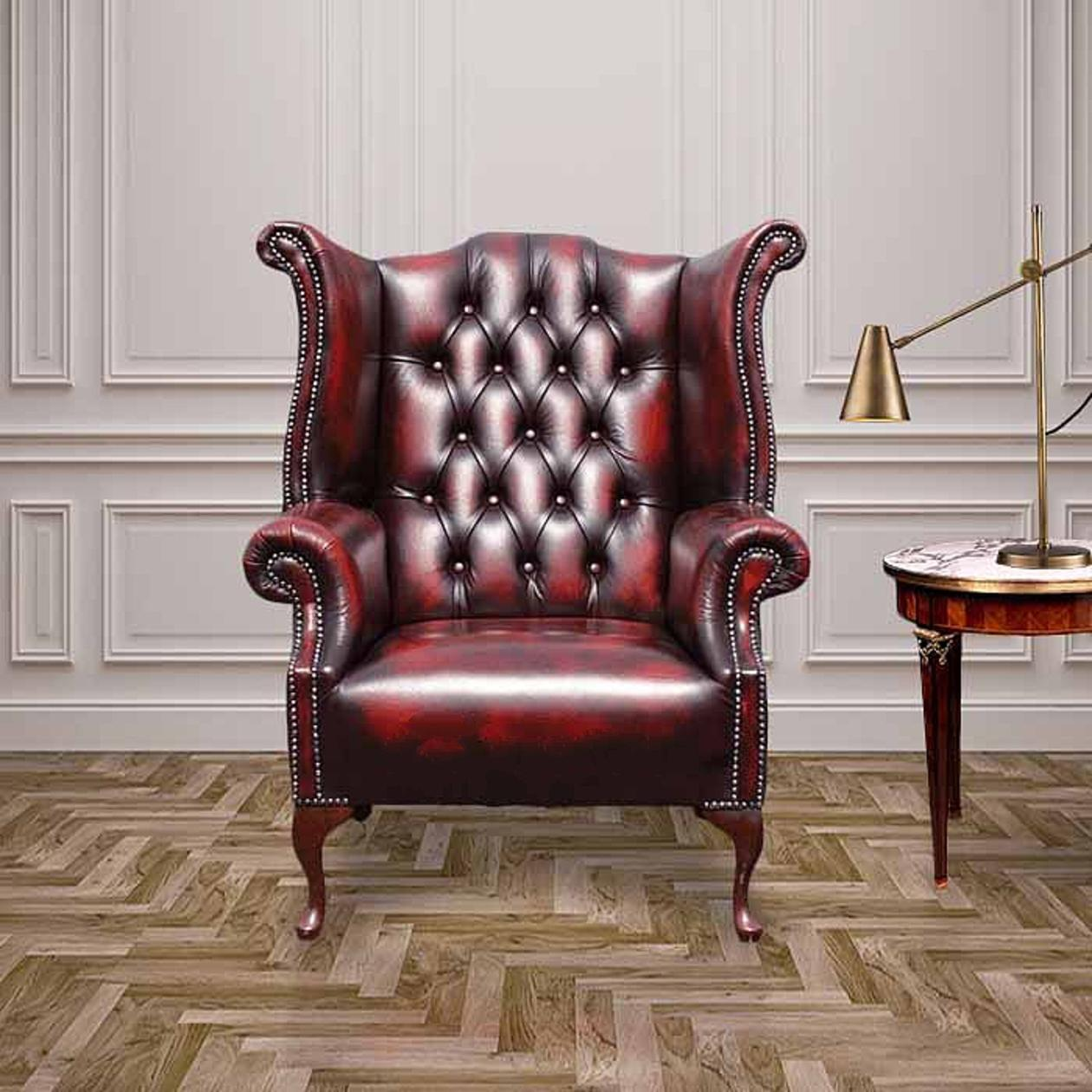 Oxblood Chesterfield 1780 High back Wing chair DesignerSofas4U