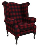 Chesterfield Edward Queen Anne Wool Tweed Wing Chair Fireside High Back Armchair Buffalo Red Check