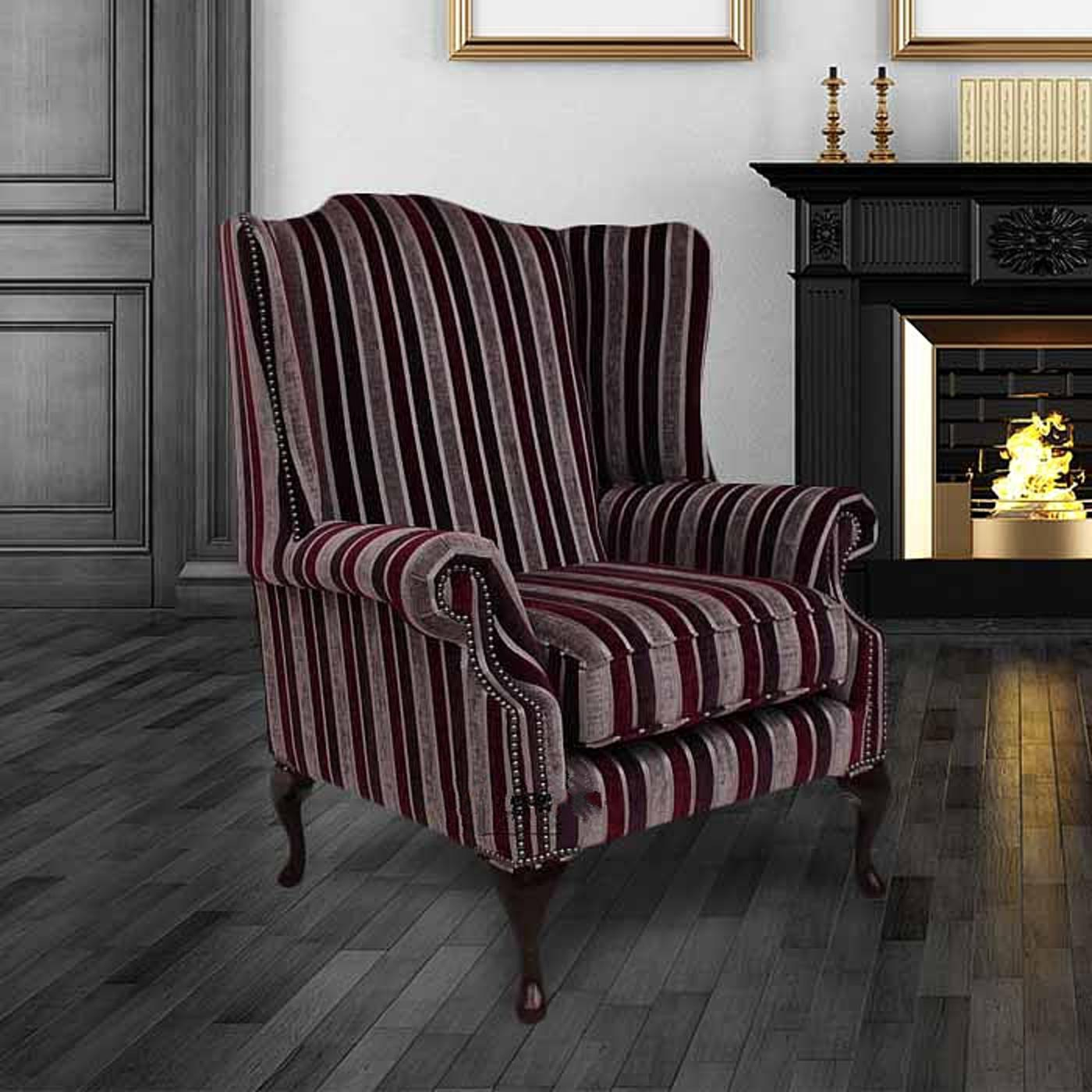 Chesterfield Fabric Mallory Flat Wing High Back Wing Chair Clio Stripe  Fuchsia