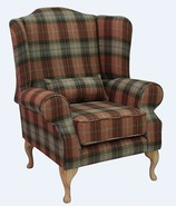 Chesterfield Frederick Wool Wing Chair Fireside High Back Armchair Olive Grove Garden Check Tweed