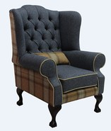 Chesterfield Frederick Wool Wing Chair Fireside High Back Armchair Skye Sage/Grey Check Tweed