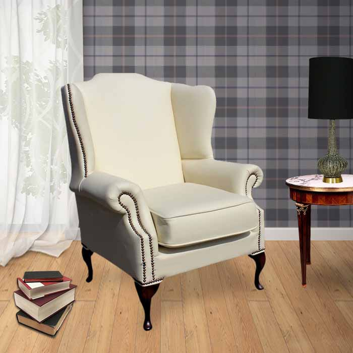 cream colored wingback chairs chesterfield richmond armchair cottonseed leather 13594 | chesterfield mallory saxon flat wing high back wing chair uk manufactured cottonseed cream leather (colorbox)