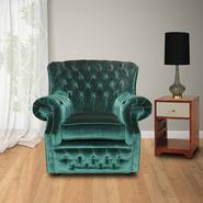 Chesterfield Monks High Back Wing Chair UK Manufactured Armchair Bottle Green Velvet