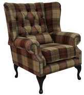 Chesterfield Regent Wool Tweed Wing Chair Fireside High Back Armchair Wool Plaid Rosehip Wine