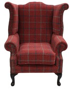 Chesterfield Saxon Queen Anne Wing Chair High Back Armchair Lana Square Check Terracotta Fabric