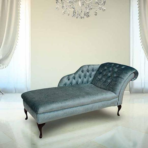 Chesterfield Velvet Chaise Lounge Day Bed Boutique Sky