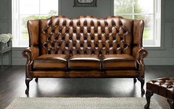 Chesterfield Highback Leather Sofa 3 Seater Antique Autumn Tan