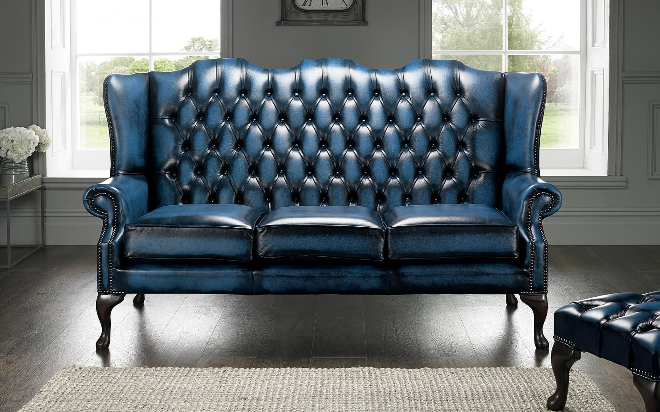 Chesterfield Highback Leather Sofa 3 Seater Antique Blue