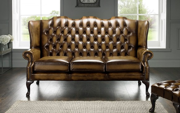 Chesterfield Highback Leather Sofa 3 Seater Antique Gold