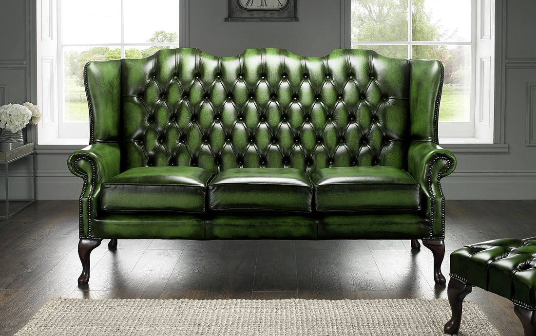 Green Chesterfield 3 Seater High Back Chair Designersofas4u
