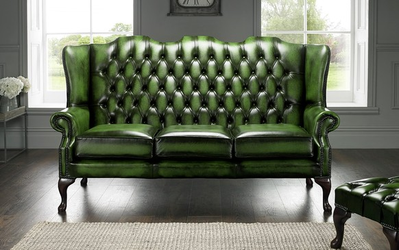 Chesterfield Highback Leather Sofa 3 Seater Antique Green